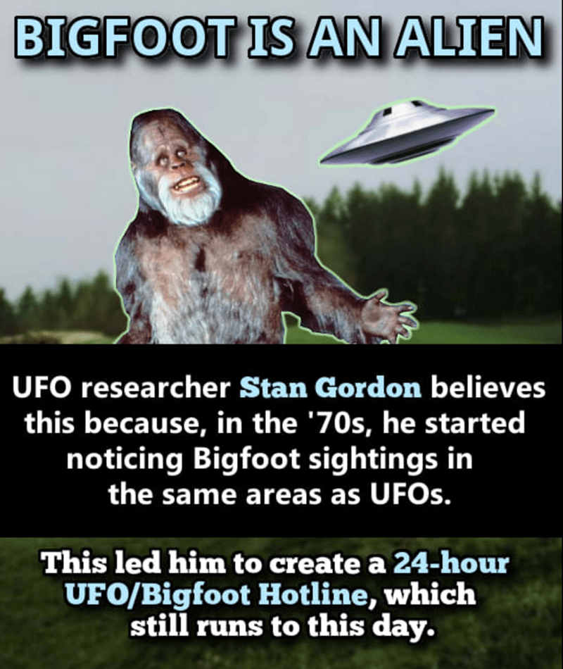 Conspiracy theory about Bigfoot being an Alien.
