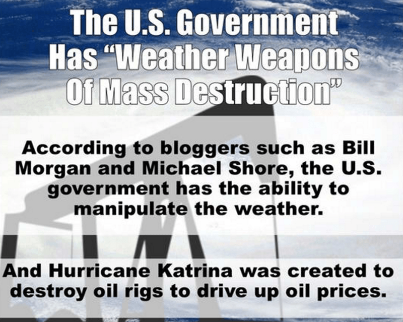 Bill Morgan Conspiracy Theory that the US Government uses weather weapons such as balloons to manipulate the weather.