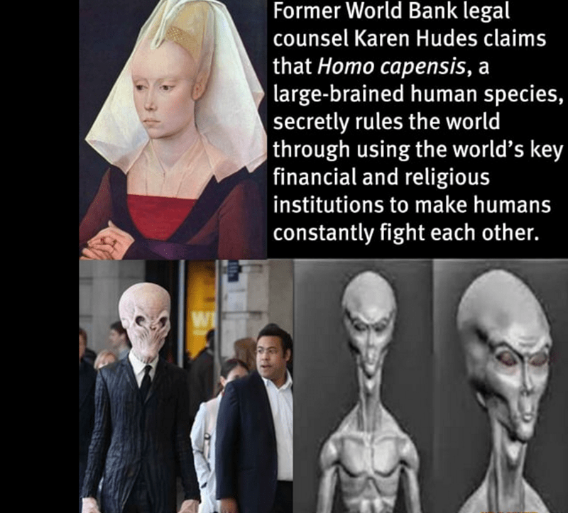 Conspiracy theory about large brained human species.