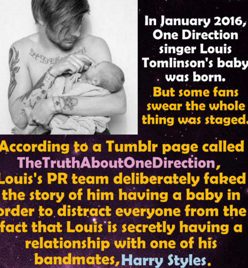Conspiracy theory about One Direction's Louis Tomlinson's baby.