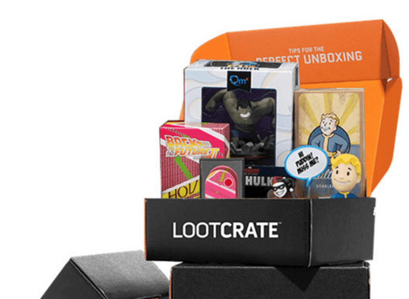Picture of LootCrate bundle that includes tons of geeky things.