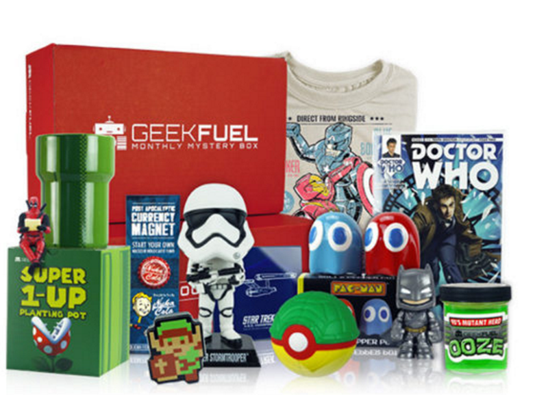 Picture of tons of geeky things in gift bundle.