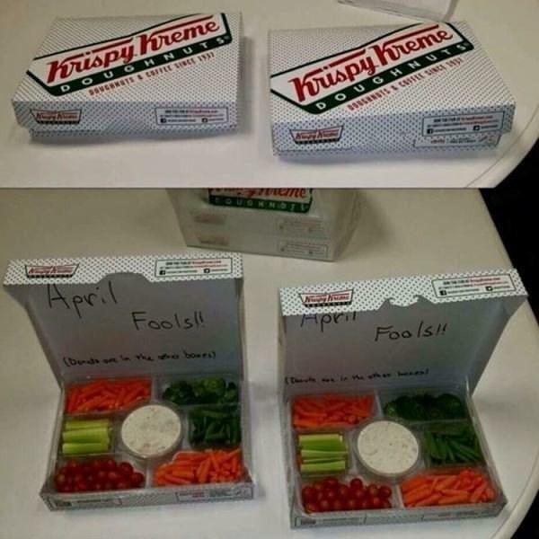 April fools office joke of bringing box full of Krispy Kreme donuts that has vegetables in it.