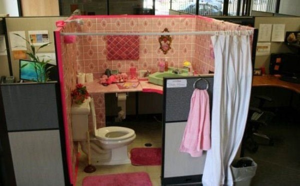 Office prank of someone's cubicle converted into bathroom