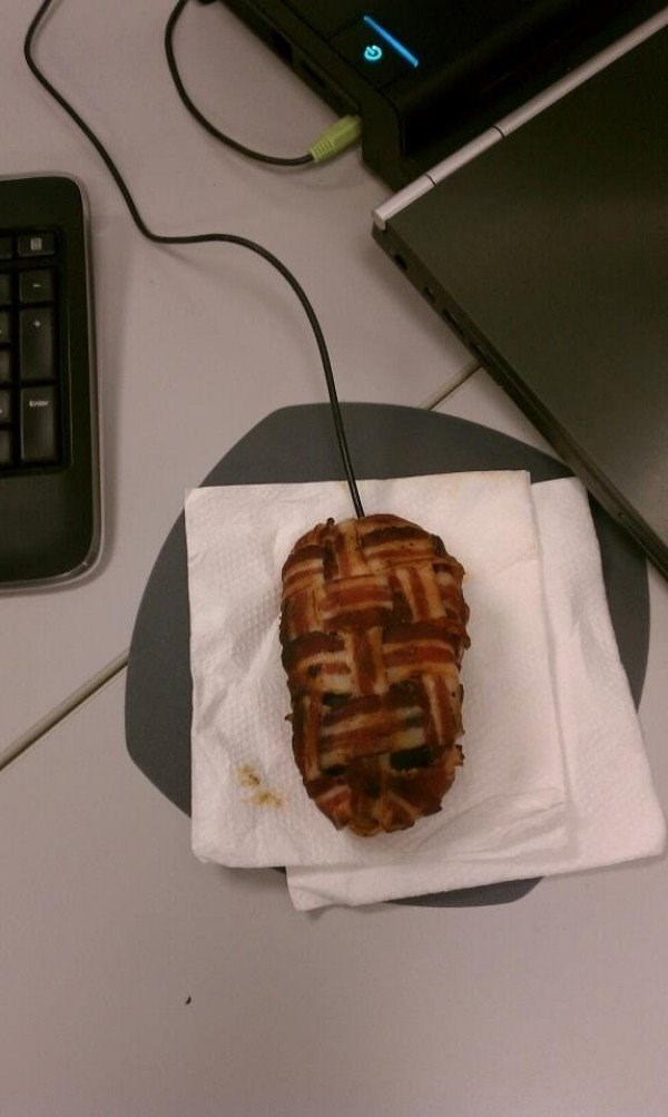 Bacon wrapped computer mouse.