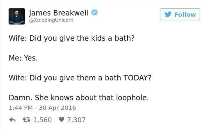 Funny parenting tweet about giving them a bath.