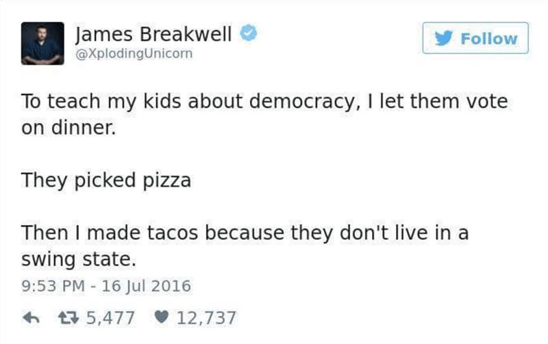 Funny tweet about teaching kids democracy.