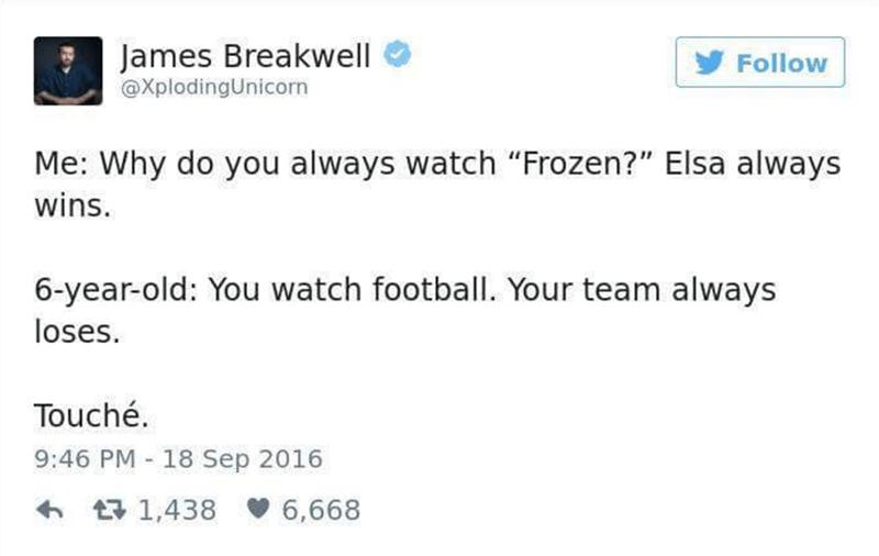 Funny tweet about Elsa always winning in Frozen.