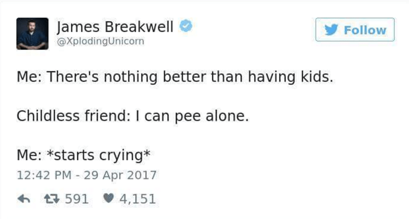 Funny tweet by James Breakwell about the joys and sadness of having kids.