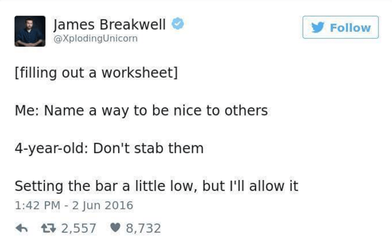 Funny tweet about how to be nice to others from a 4-year-old
