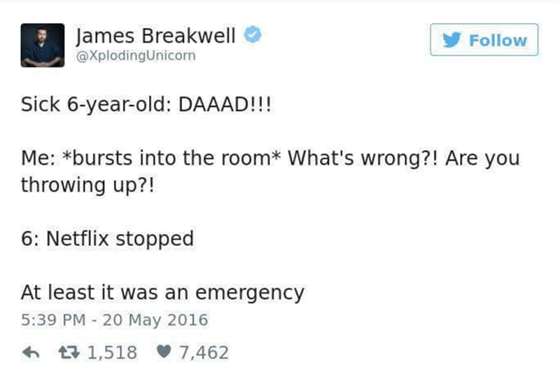Funny tweet about parenting and Netflix.