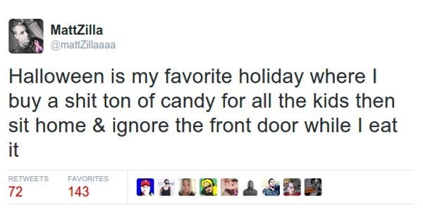 Funny tweet meme about Halloween being a holiday for eating candy and ignoring the door