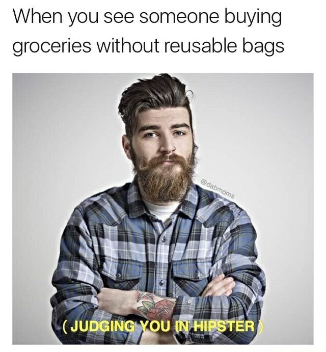 Funny meme: photo of a hipster with a crazy beard and mustache judging you for forgetting to bring a reusable bag to the grocery store.
