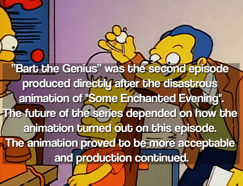 """Cartoon - """"Bart the Genius"""" was the second episode produced directly after the disastrous animation of Some Enchanted Evening"""" The future of the series depended on how the animation burned out on this episode. The animation proved to be more acceptable and production continued."""