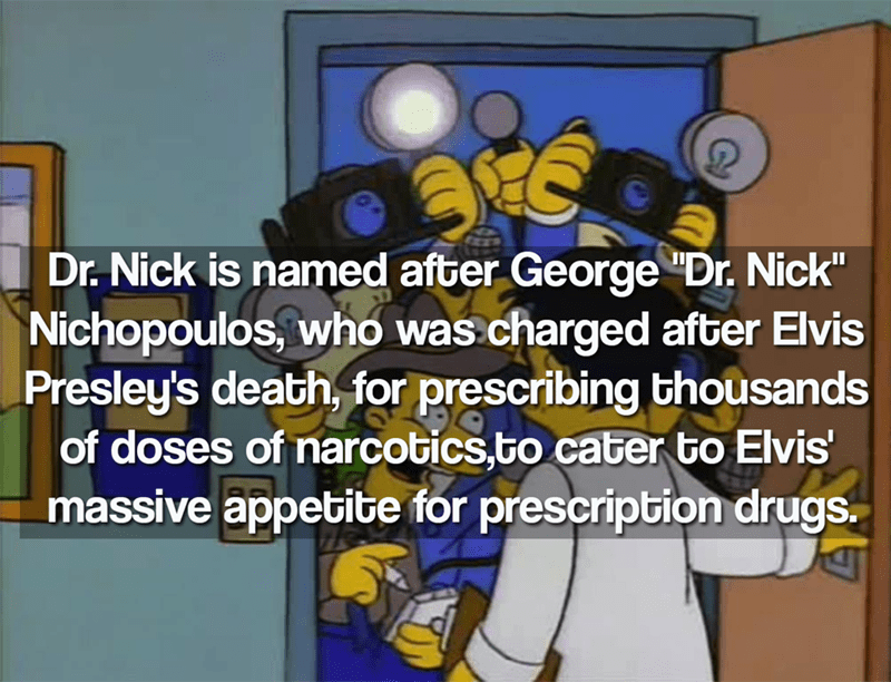 """Cartoon - Dr.Nick is named after George """"Dr. Nick"""" Nichopoulos, who was charged after Elvis Presley's death, for prescribing thousands of doses of narcotics.to cater to Elvis' massive appetite for prescription drugs."""