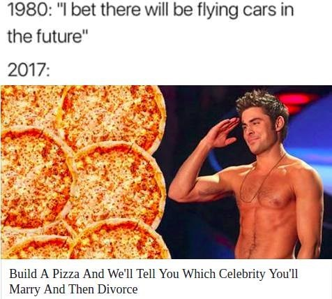 Funny meme describing how far we've come as a society - snap shot of a quiz about using a food to tell which celebrity you'll marry and divorce.