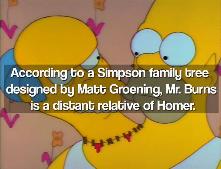 Cartoon - According to a Simpson family bree designed by Matt Groening, Mr. Burns is a distant relabive of Homer.