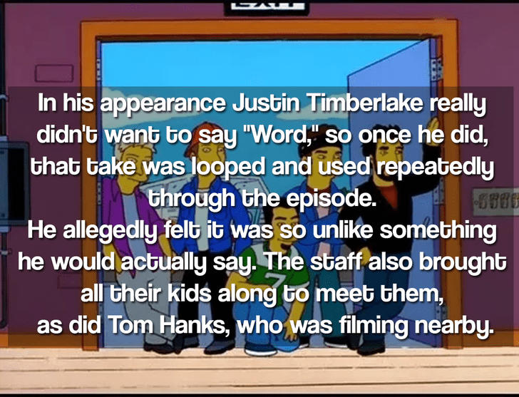 """Text - In his appearance Justin Timberlake really didn't want bo say """"Word,"""" so once he did, that bake was looped and used repeatedly through the episode. He allegedly felb it was so unlike something he would actually say. The staff also brought all their kids along to meet them as did Tom Hanks, who was filming nearby."""