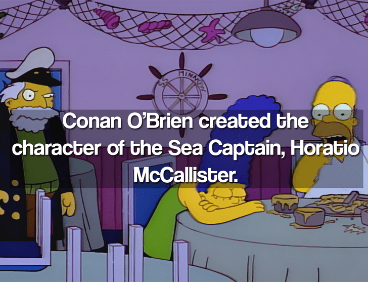 Cartoon - HIMNUS character of the Sea Captain, Horatio McCallister. Conan O'Brien created the