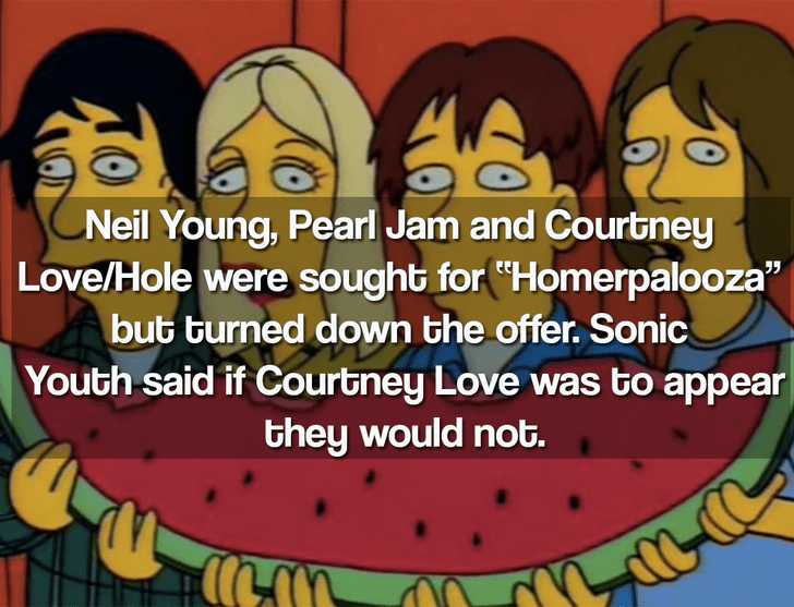 """Cartoon - Neil Young, Pearl Jam and Courtney Love/Hole were sought for """"Homerpalooza"""" but turned down the offer. Sonic Youth said if Courtney Love was to appear they would not."""