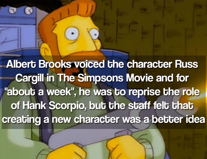 """Cartoon - Albert Brooks voiced the character Russ Cargill in The Simpsons Movie and for """"about a week"""", he was to reprise the role of Hank Scorpio, but the staff felt that creating a new character was a better idea"""