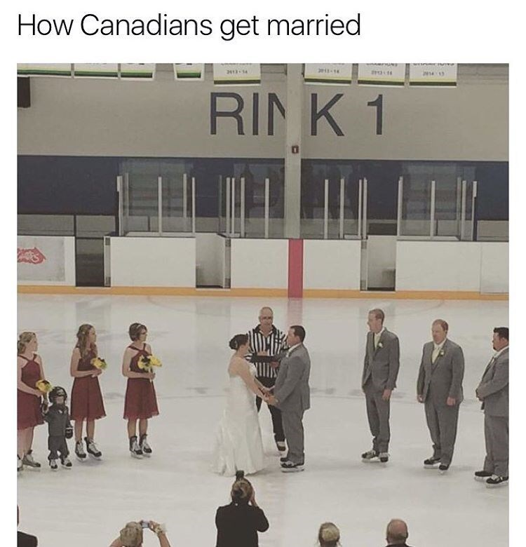 Funny meme of Canadians getting married in an ice rinks, on ice skates, with referee officiating the ceremony.