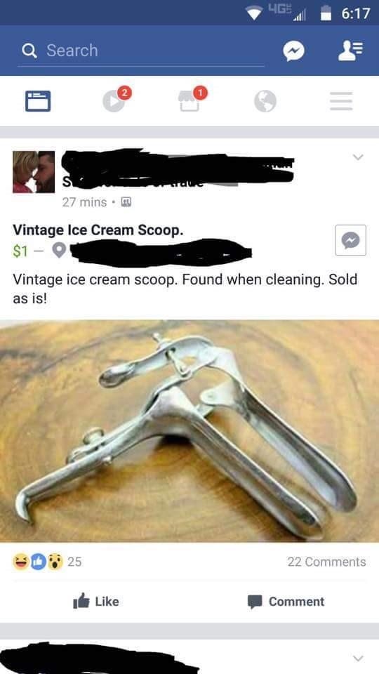 Person posts picture of vintage ice cream scooper.