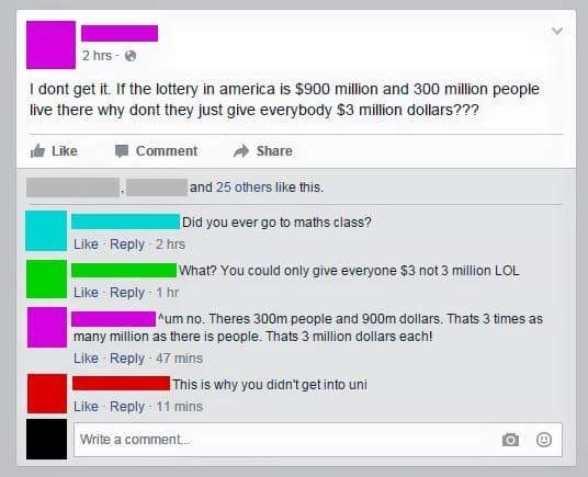 Confused idiot posts stupid status and their mathematical struggles are too real.