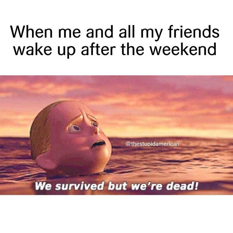 Meme from the Incredibles of waking up with your friends after a weekend - we survived but we're dead.