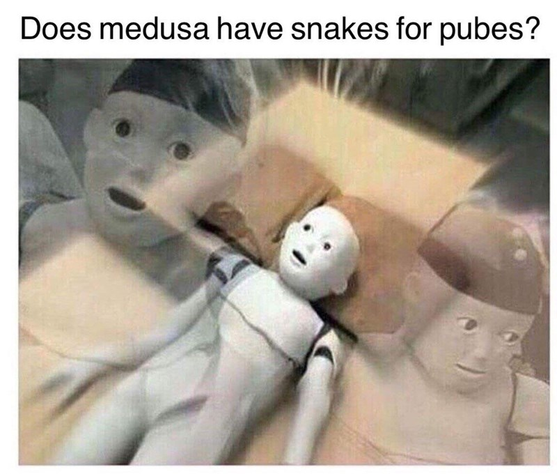 "Funny meme of a guys mind being blown by the questions ""does medusa have pubes?"""