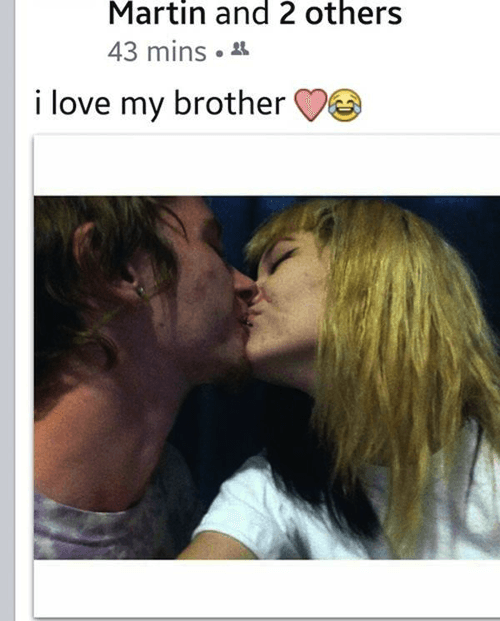 Girl posts cringe status about loving her brother as she kisses him on the lips.