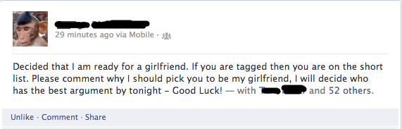 Guy decides he's ready for a girlfriend and tags 52 people asking for any of them to be the one.