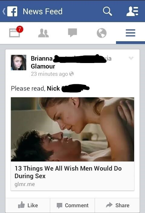 Girl tags her boyfriend in article about things women wish men would do during sex.