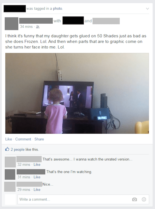 Dad posts Facebook status about how his daughter loves to watch '50 Shades' as much as the movie Frozen.