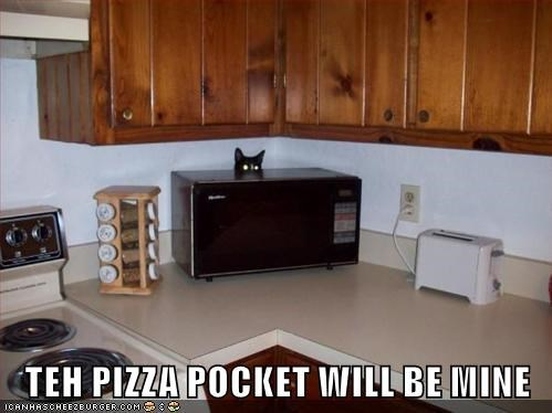 Funny cat meme of a cat hiding behind the microwave with glowing green eyes, captioned saying the pizza pocket shall be his.