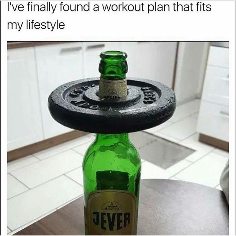 Meme of a workout routine in which a weight is applied to a beer bottle.