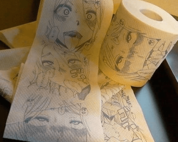 Toilet paper with tons of iconic anime characters drawn onto it.