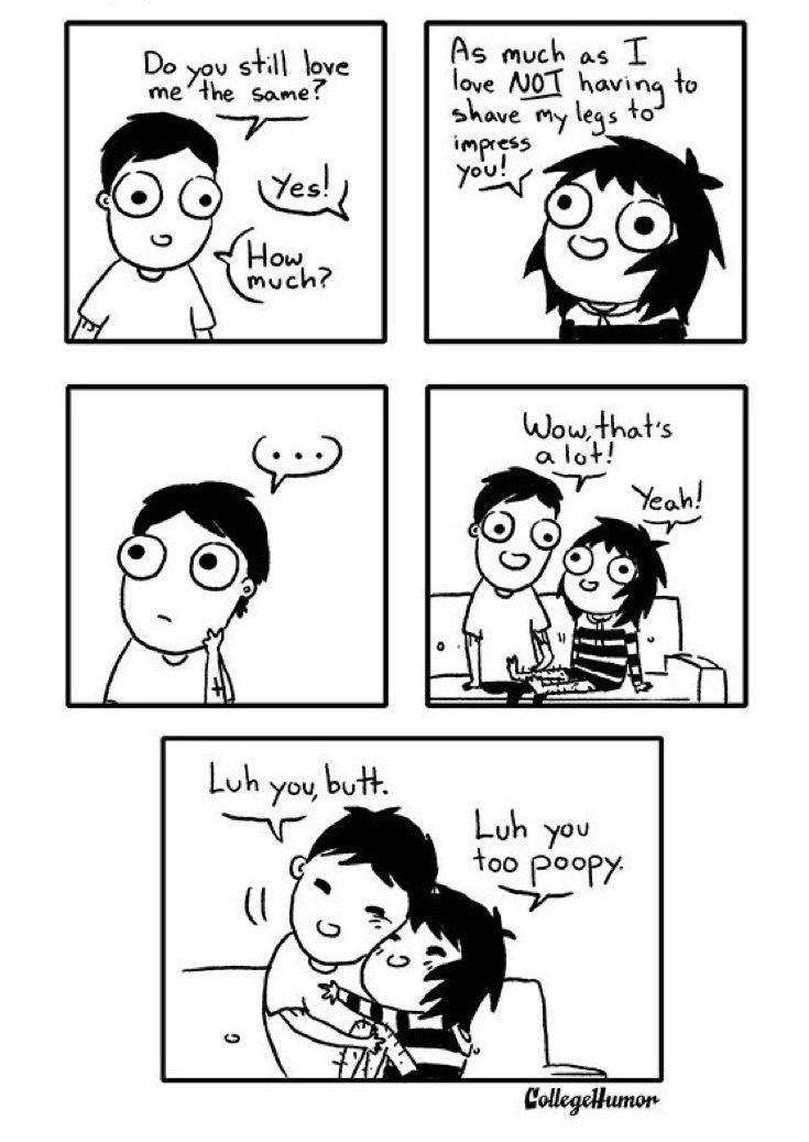 webcomic - Face - As much as I Do you still love me'the same? love AOT having to to shave my legs impress you! Yes! How much? Wow,that's a lot! Yeah! Luh you butt. Luh you too poopy CollegelHumon
