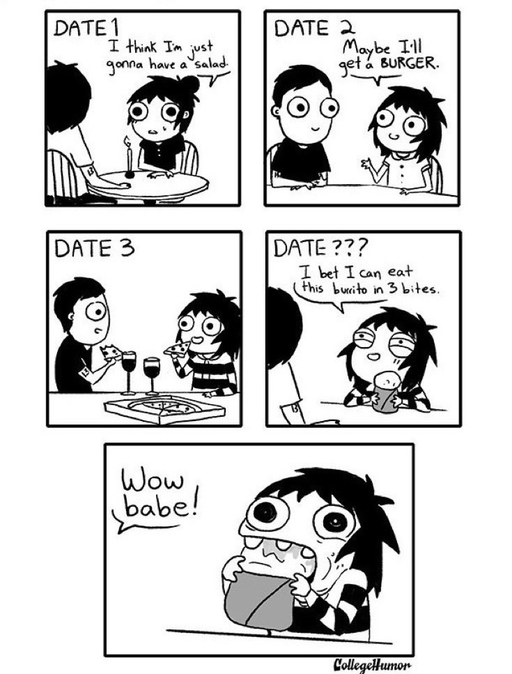 webcomic - Cartoon - DATE1 DATE 2 I think Tm ust Jonna have a salad Maybe Ill get a BURGER DATE 3 DATE ??? I bet I can eat (this buito in 3 bites. Wow babe! CollegeHumon