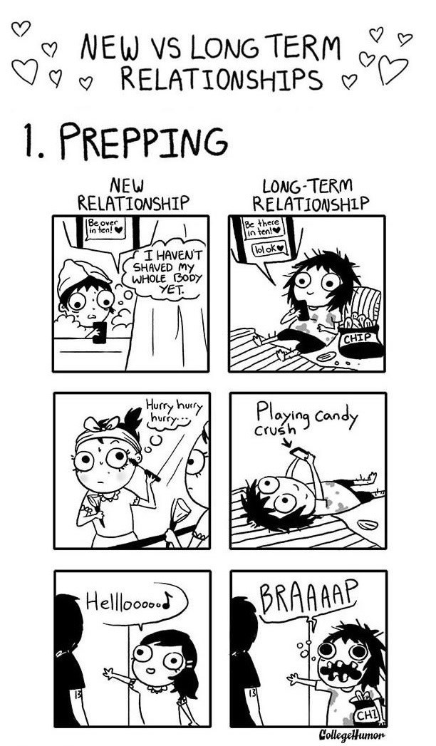 webcomic - Comics - NEW VS LONG TERM RELATIONSHIPS 1. PREPPING NEW RELATIONSHIP LONG-TERM RELATIONSHIP Be there in ten! Be over io tea! lol ok I HAVENT SHAVED MY WHOLE BODY YET CHIP Hurry huty hurry Ploing candy Crush BRAAAAP Helllooo CollegeHumon