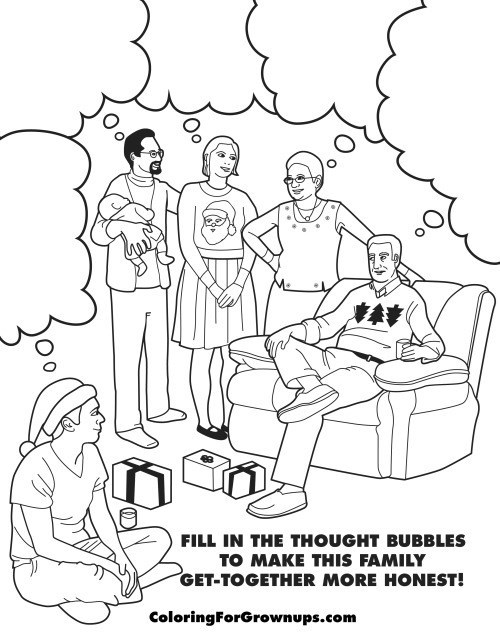 coloring for grown up - awkward family gathering speech bubbles.