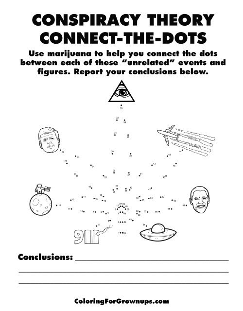 Coloring for adults activity book with conspiracy theory connect the dots.