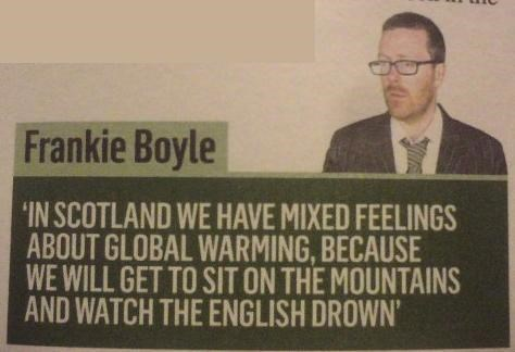 Scottish tweet about wanting global warming because they will watch the British drown