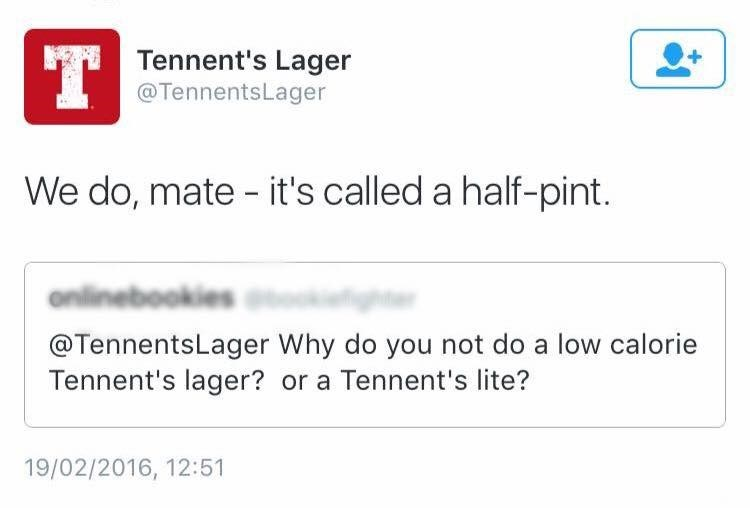 Scottish tweet about Tennent's Lager having a half-pint