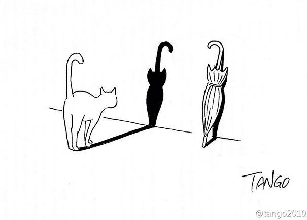 Illustration of Cat shadow that looks like umbrella.