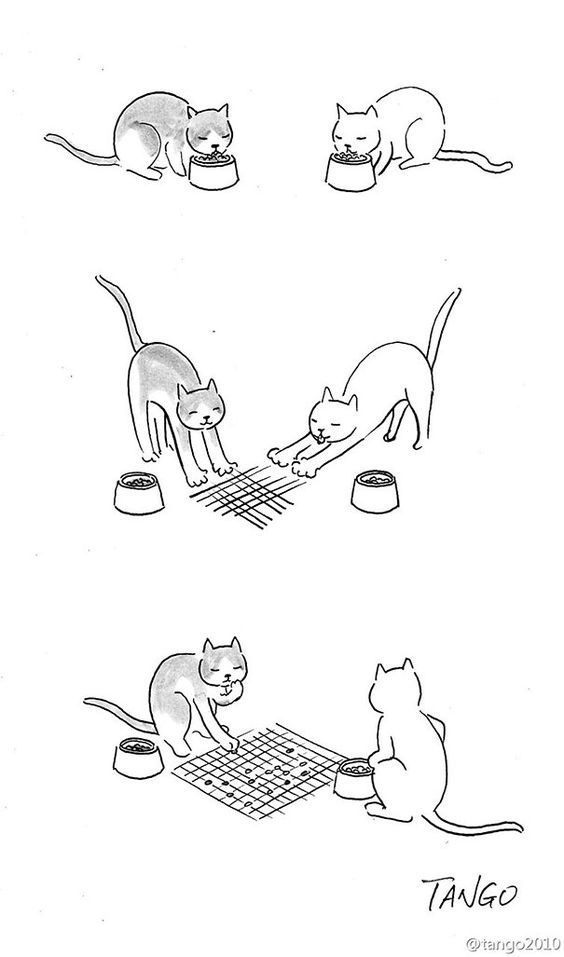 illustration of two cats creating their own checkers board with their claws and scratching the floor.