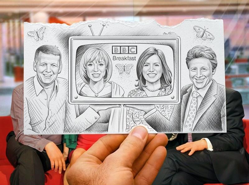 Drawing - Batte BBC Breakfast