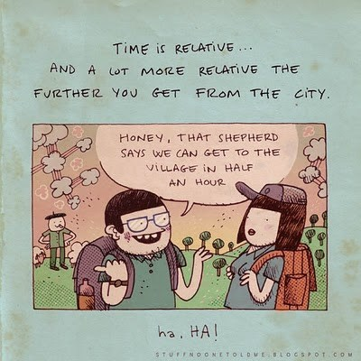 Cartoon - TIME is RELATIVE AND A LOT moRE RELATIVE THE FUr2THER You GET FROM THE CITY HONEY, THAT SHEPHERD SAYS WE CAN GET TO THE VILAGE IN HALF AN HOUR ha, HA STUFFNO ONETOLD uE BLOCSOT.COM