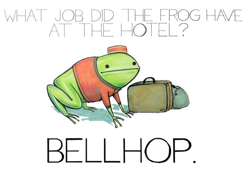 Drum - WHAT JOB DID THE FROG HAVE AT THE HOTEL? MT BELLHOP