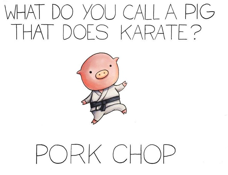 Text - WHAT DO YOU CALL A PIG THAT DOES KARATE? PORK CHOP
